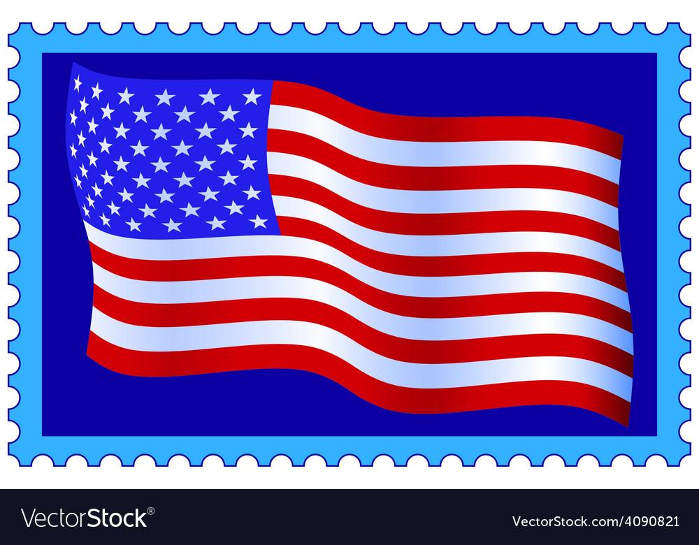 Usa flag on stamp vector | Price: 1 Credit (USD $1)