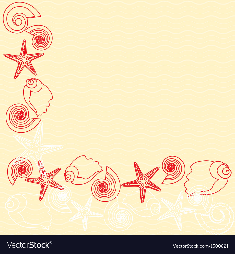 Yellow background with sea life vector | Price: 1 Credit (USD $1)