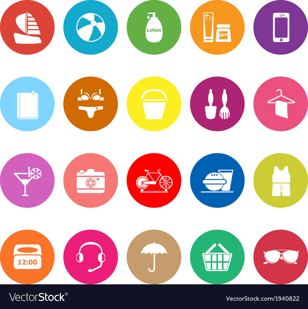 Beach flat icons on white background vector | Price: 1 Credit (USD $1)