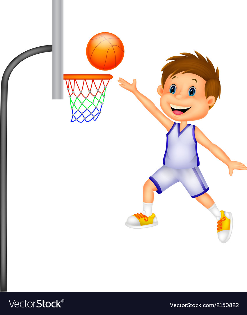 Cartoon boy playing basket ball vector | Price: 1 Credit (USD $1)