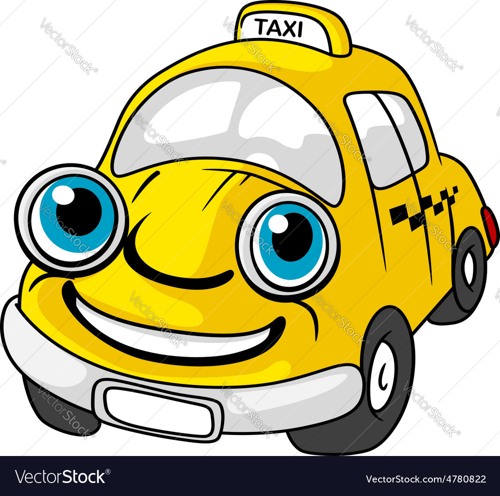 Cartoon yellow taxi car character vector | Price: 1 Credit (USD $1)