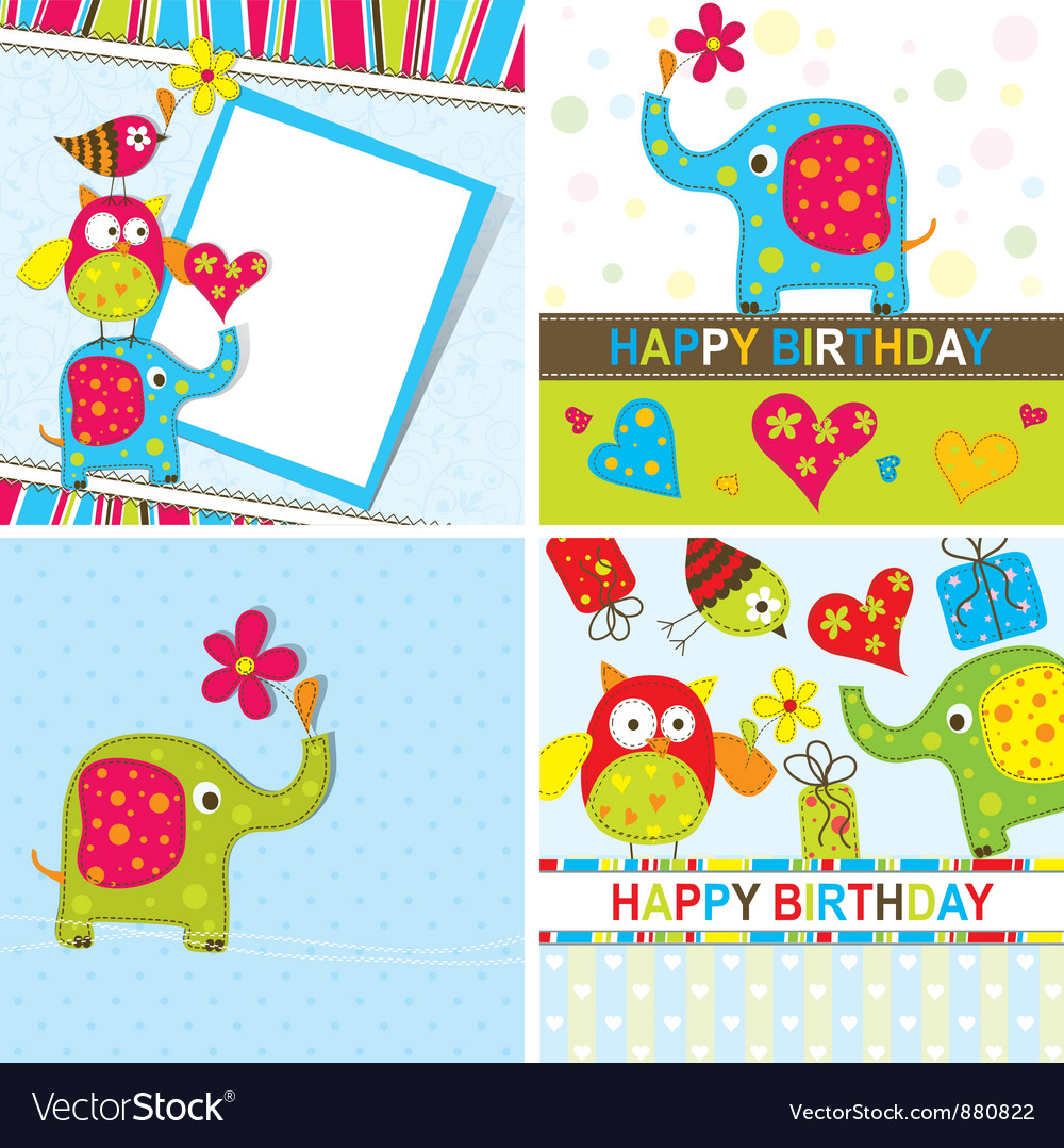 Children birthday cards set vector | Price: 1 Credit (USD $1)