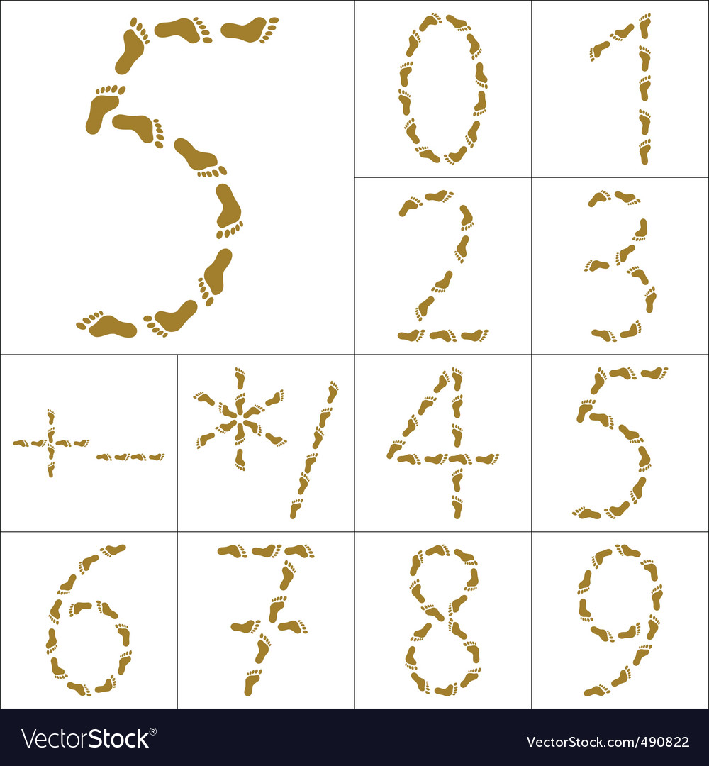 Footprints figures and signs vector | Price: 1 Credit (USD $1)