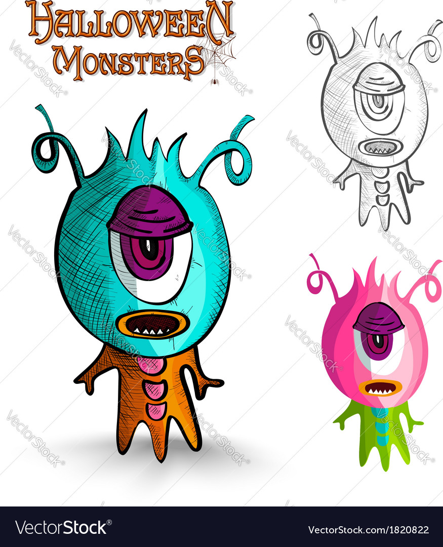 Halloween monsters one eye creature eps10 file vector | Price: 1 Credit (USD $1)