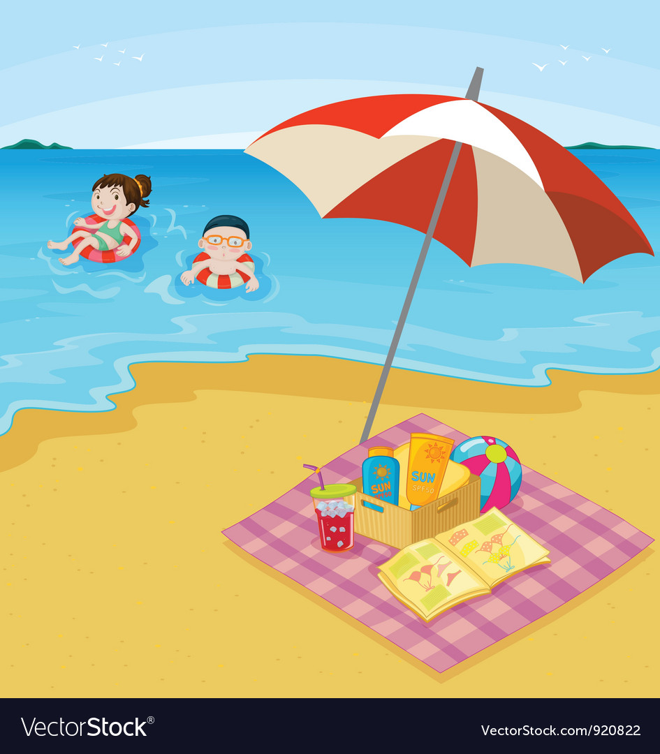 Kids at the beach vector | Price: 3 Credit (USD $3)