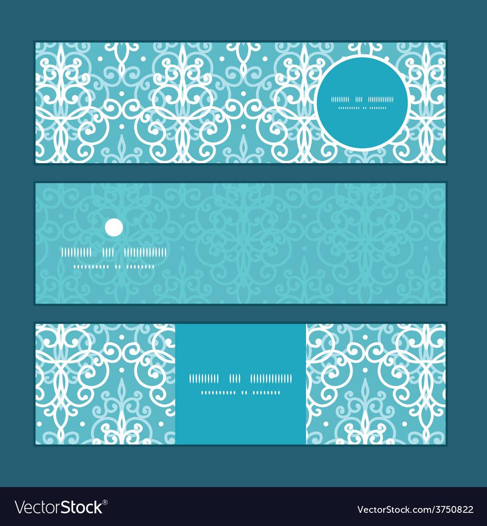 Light blue swirls damask horizontal banners vector | Price: 1 Credit (USD $1)