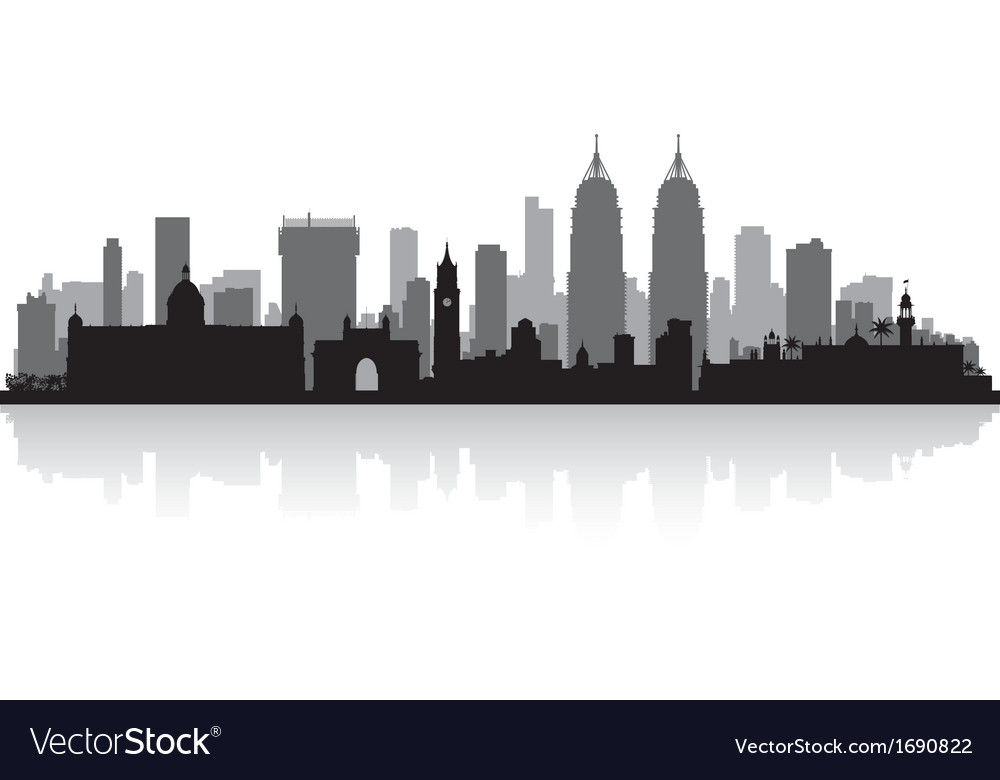 Mumbai india city skyline silhouette vector | Price: 1 Credit (USD $1)