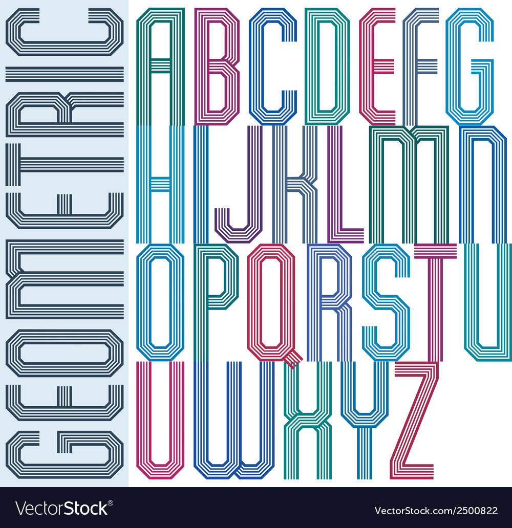 Retro colorful geometric font with parallel lines vector | Price: 1 Credit (USD $1)