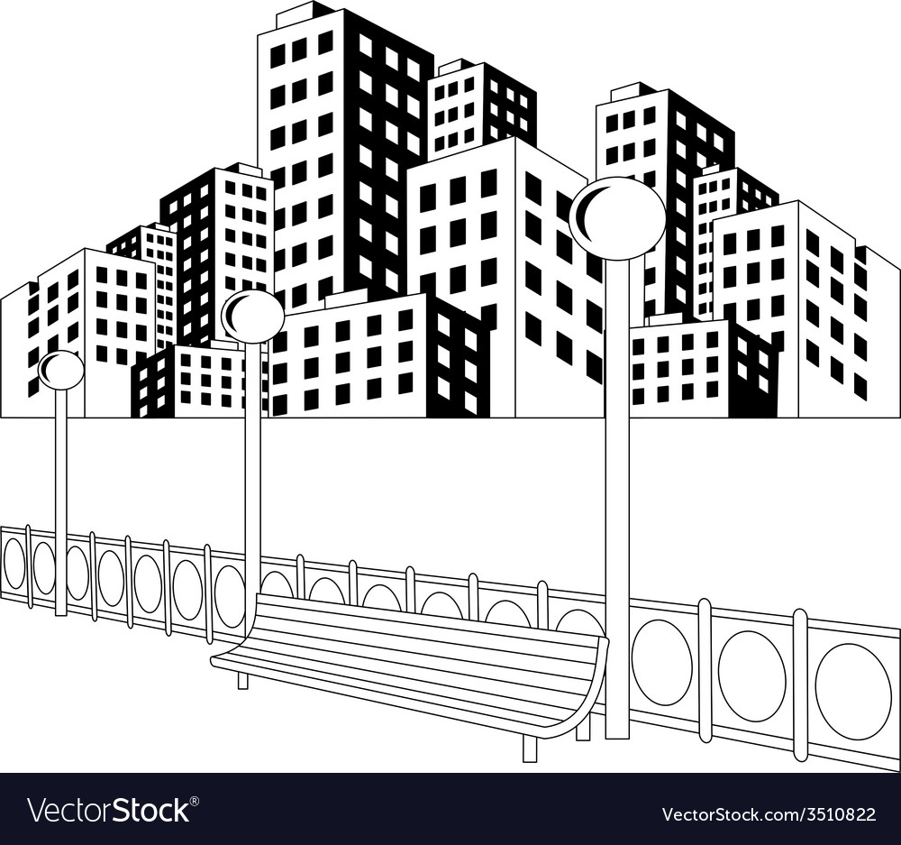 Street in city vector | Price: 1 Credit (USD $1)
