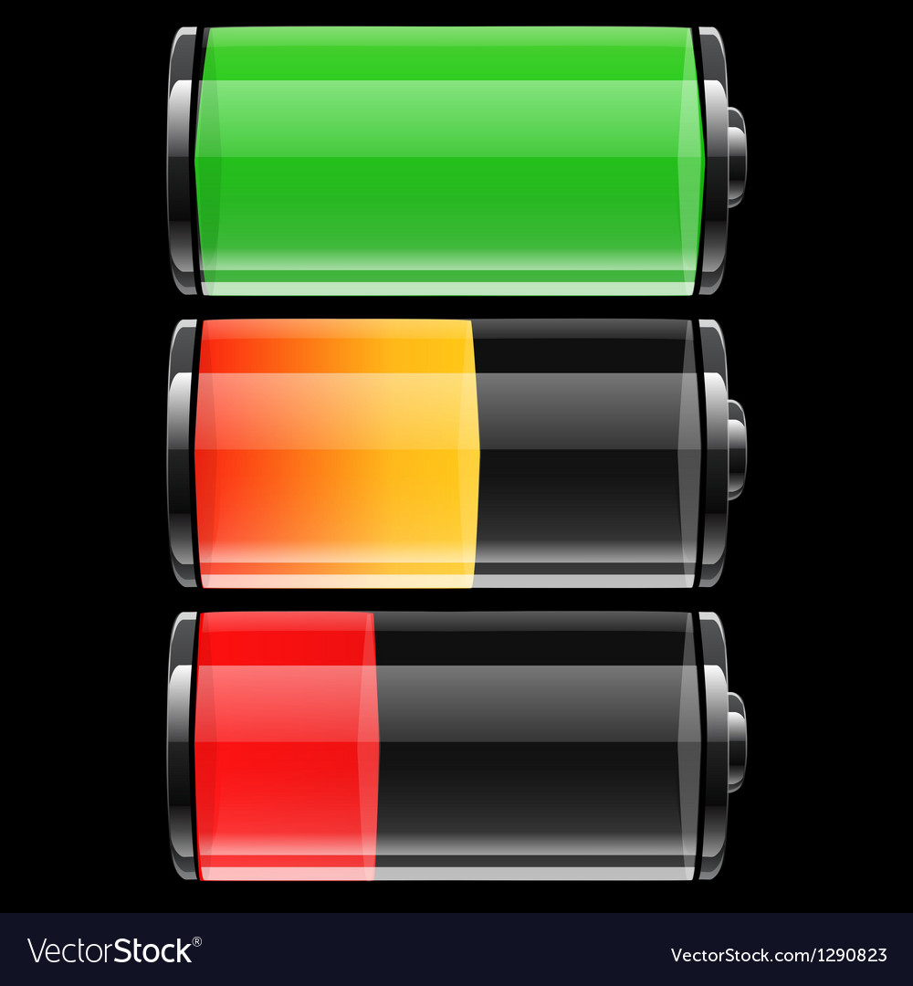 Battery set with color levels vector | Price: 1 Credit (USD $1)
