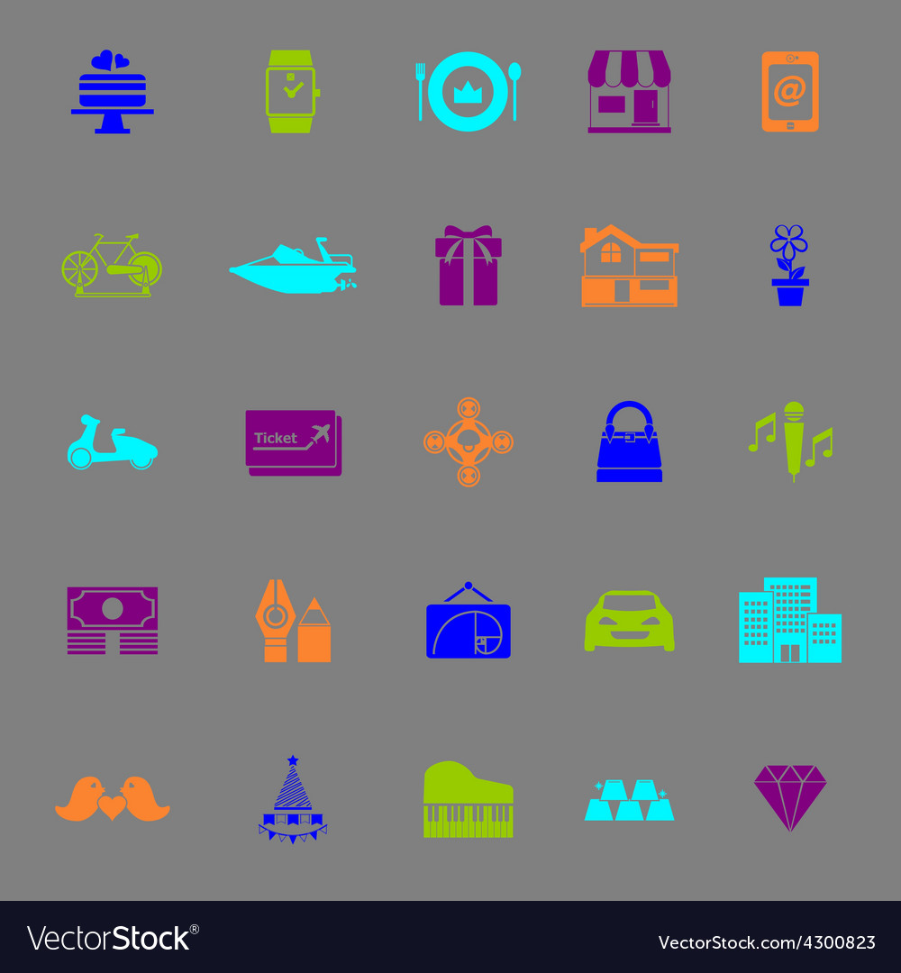 Birthday gift color icons on gray background vector | Price: 1 Credit (USD $1)