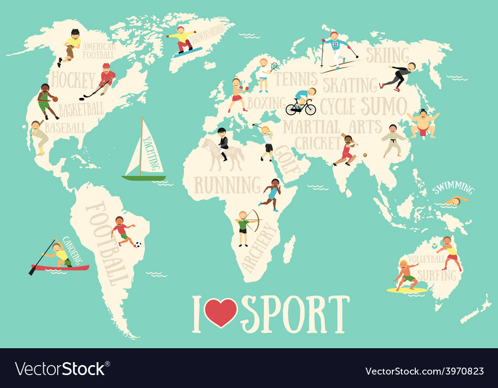 Cartoon map with sportsmen vector | Price: 1 Credit (USD $1)