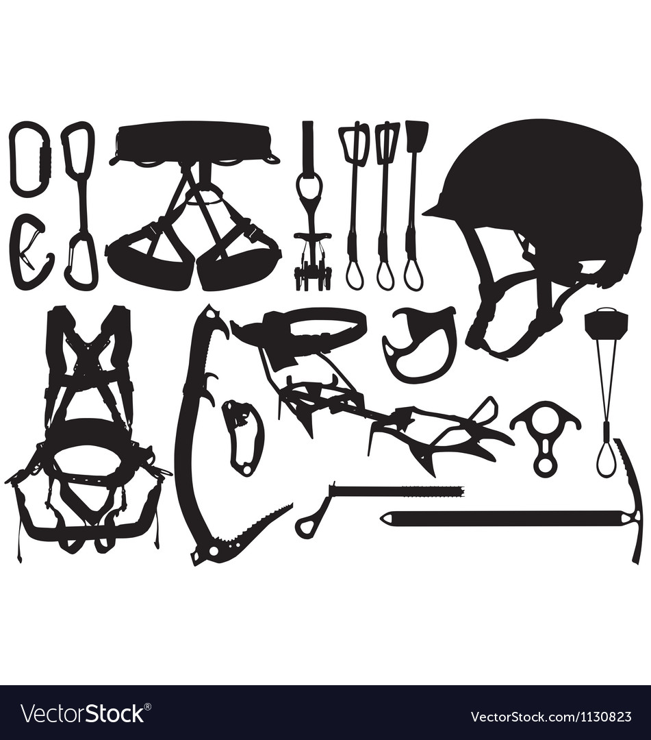 Climbing equipment silhouettes vector | Price: 1 Credit (USD $1)