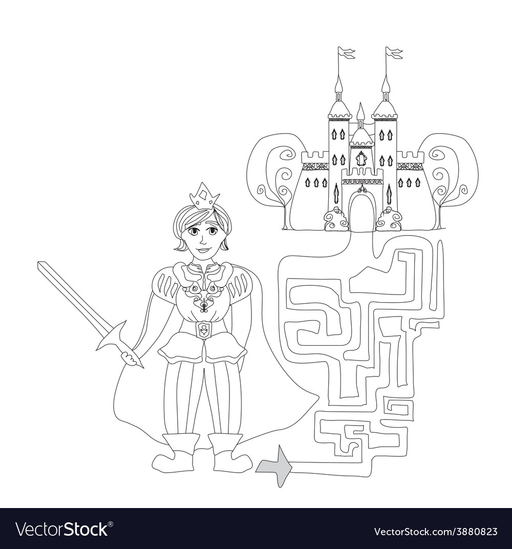 Funny maze game prince looking castle vector | Price: 1 Credit (USD $1)