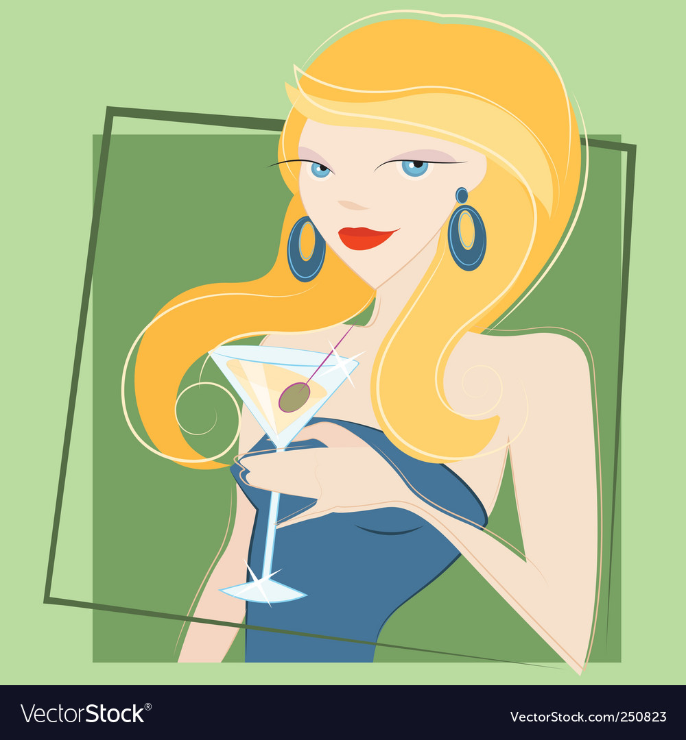Girl drinking martini vector | Price: 3 Credit (USD $3)
