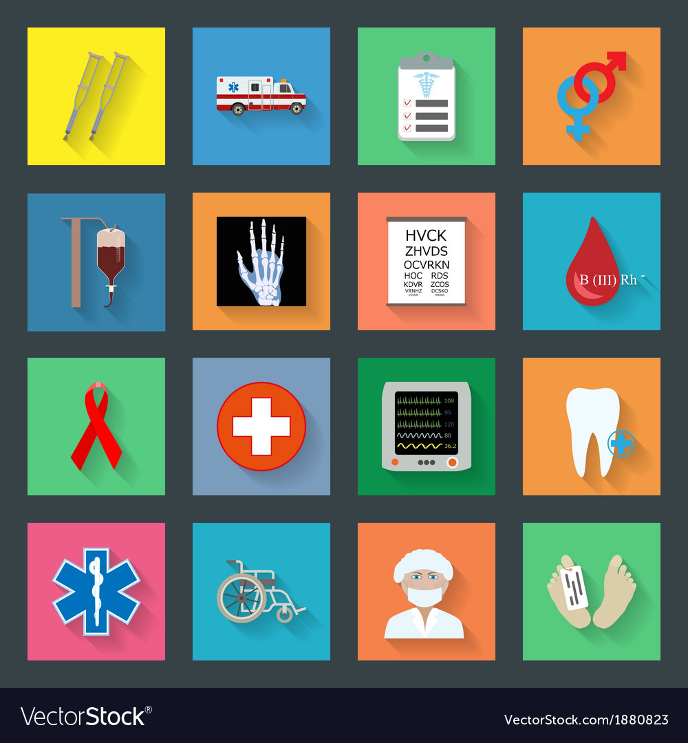 Medicine flat icons set 2 vector | Price: 1 Credit (USD $1)