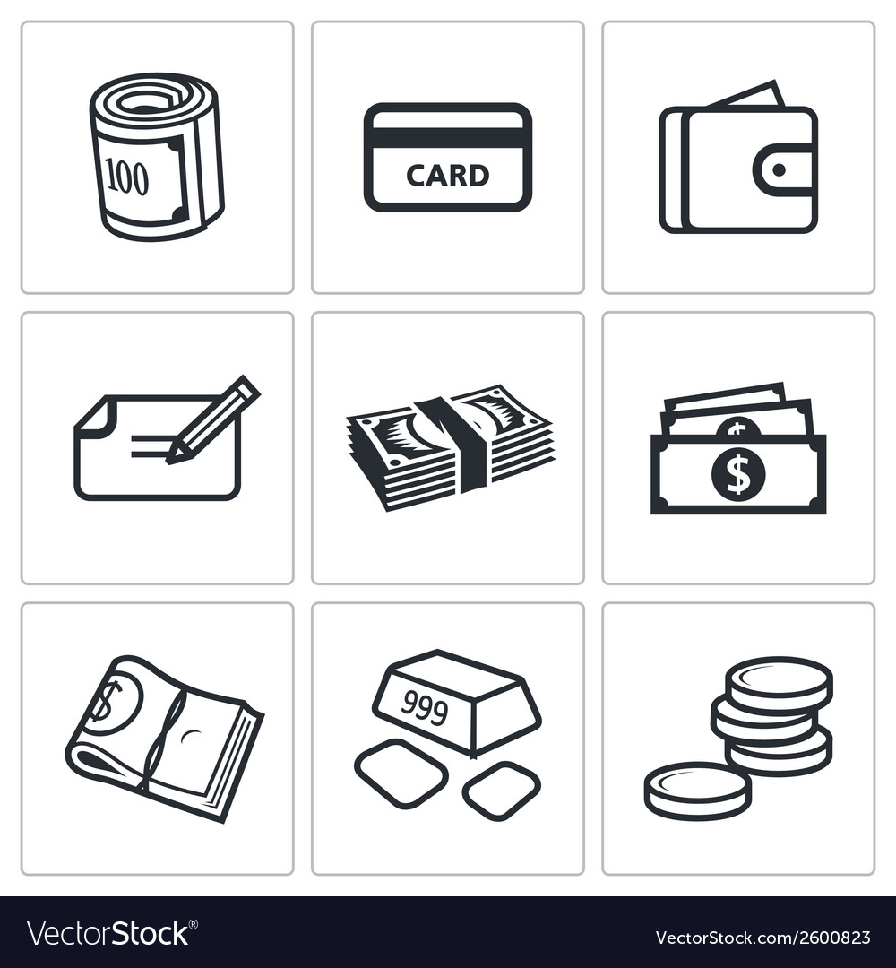 Money icon set vector | Price: 1 Credit (USD $1)