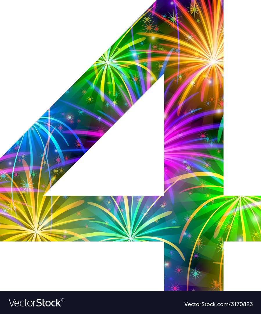 Number of colorful firework four vector | Price: 1 Credit (USD $1)