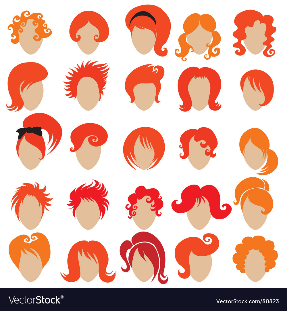 Red hair styling vector | Price: 1 Credit (USD $1)