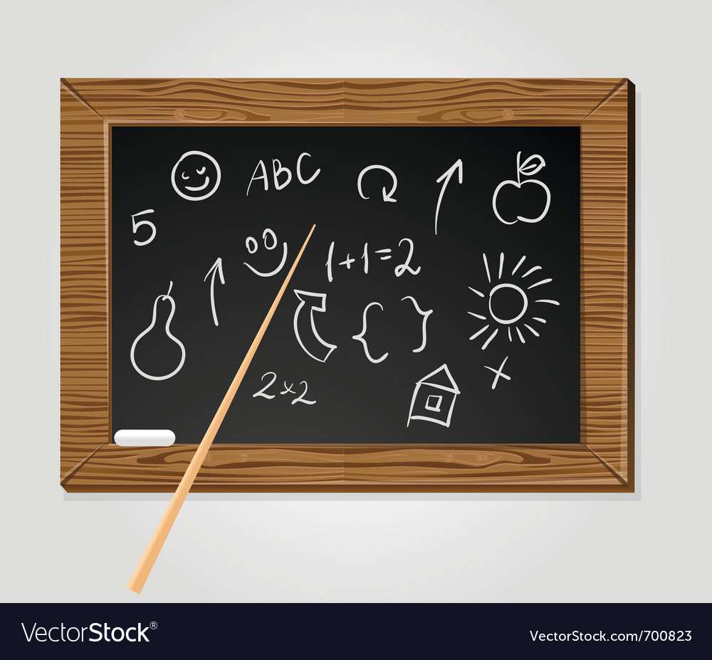 School black board with pointer and chalk vector | Price: 1 Credit (USD $1)