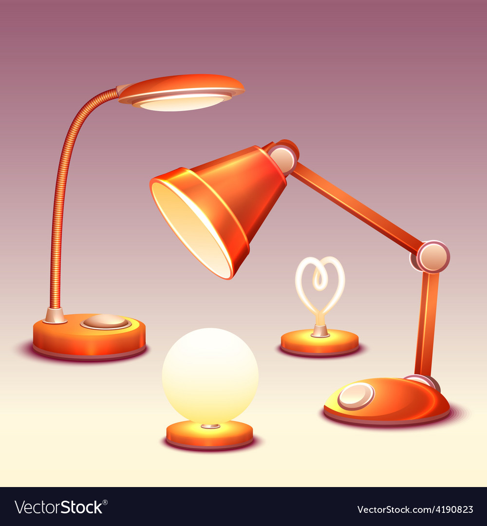 Set of realistic office reading-lamps vector | Price: 3 Credit (USD $3)