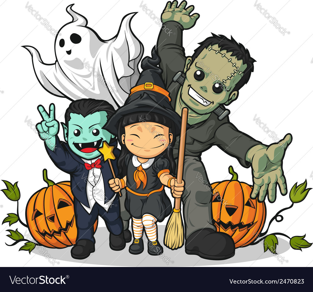 Witch vampire frankenstein ghost pumpkin greeting vector | Price: 1 Credit (USD $1)