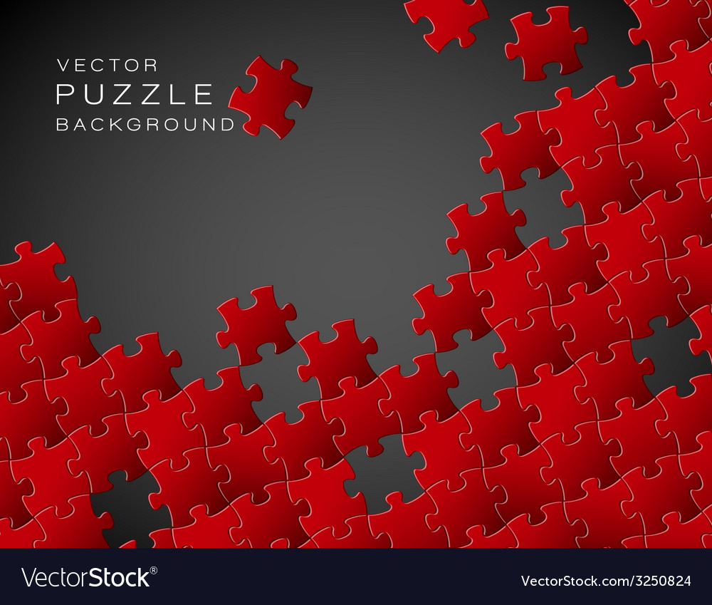 Background made from red puzzle pieces vector