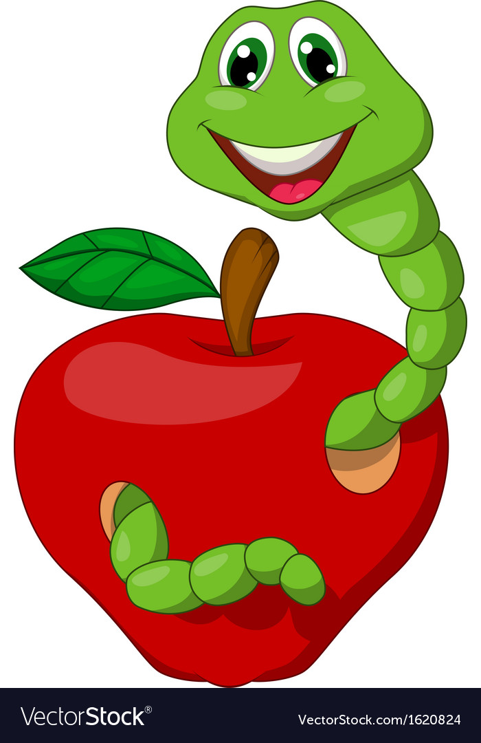Cartoon worm with red apple vector | Price: 1 Credit (USD $1)