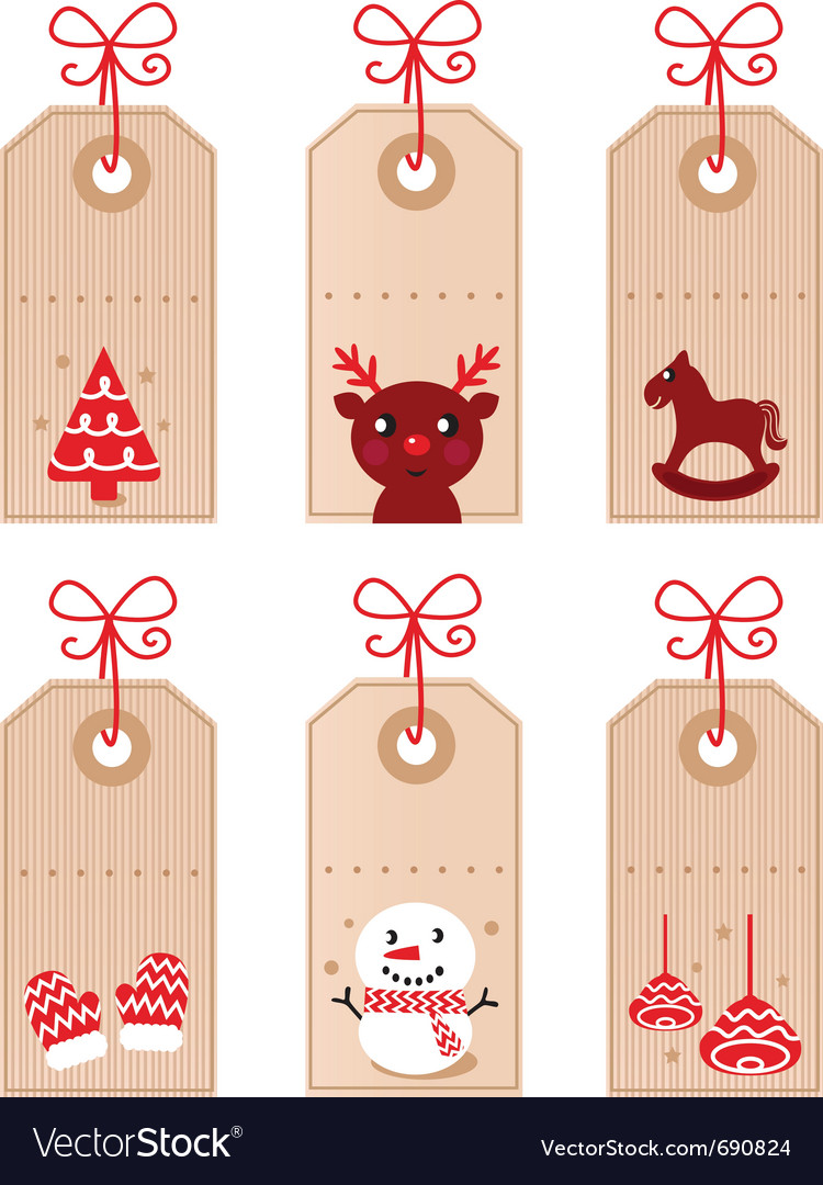 Cute christmas retro tags vector | Price: 1 Credit (USD $1)