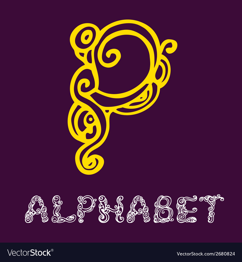 Doodle hand drawn sketch alphabet letter p vector | Price: 1 Credit (USD $1)