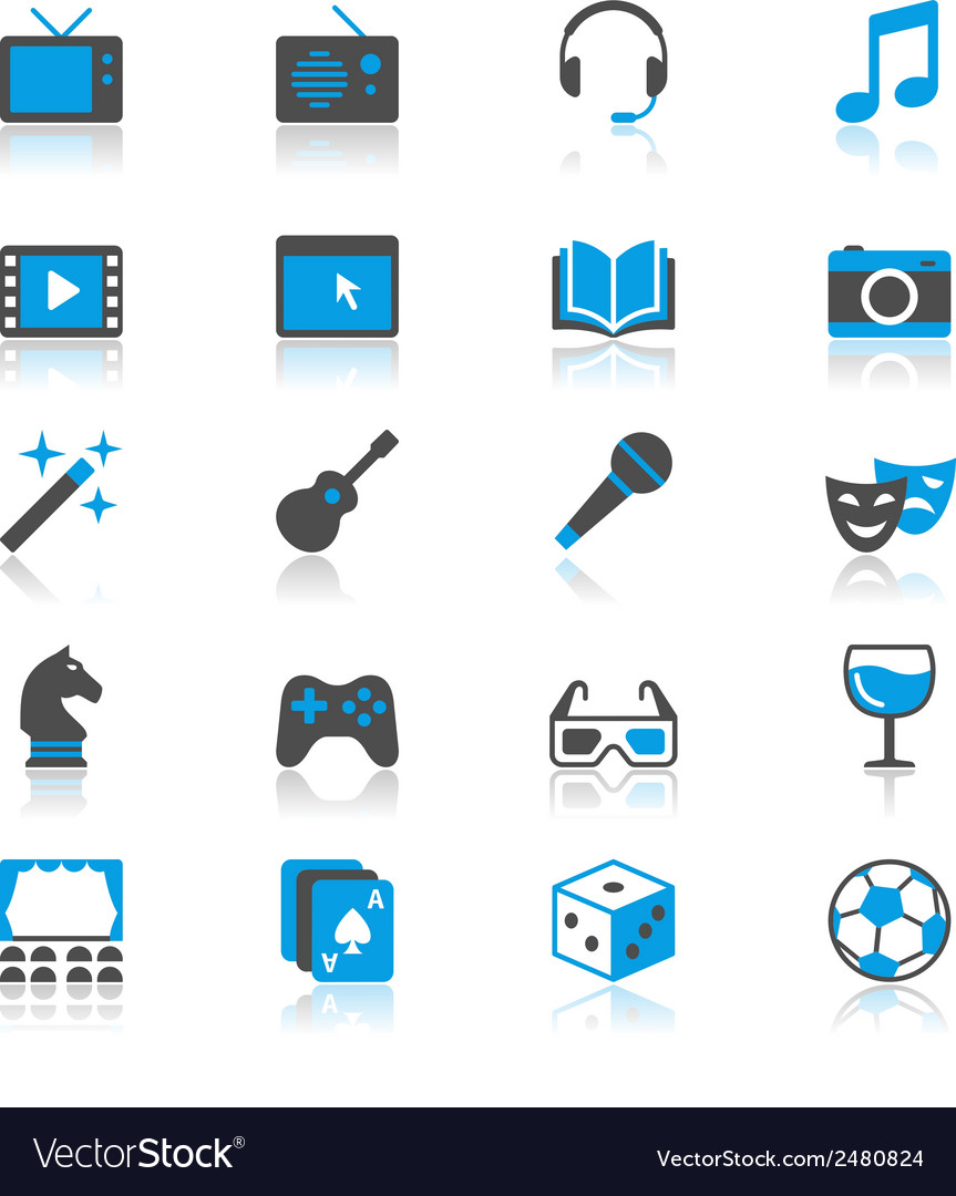 Entertainment flat with reflection icons vector | Price: 1 Credit (USD $1)