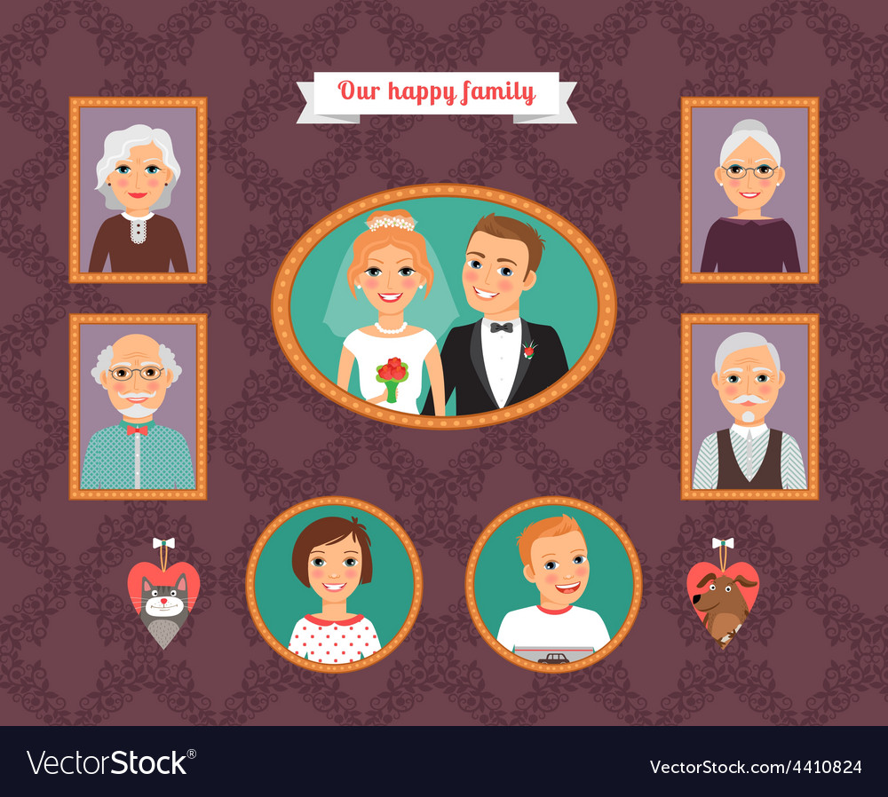Family portrait wall with family photo frames vector | Price: 1 Credit (USD $1)