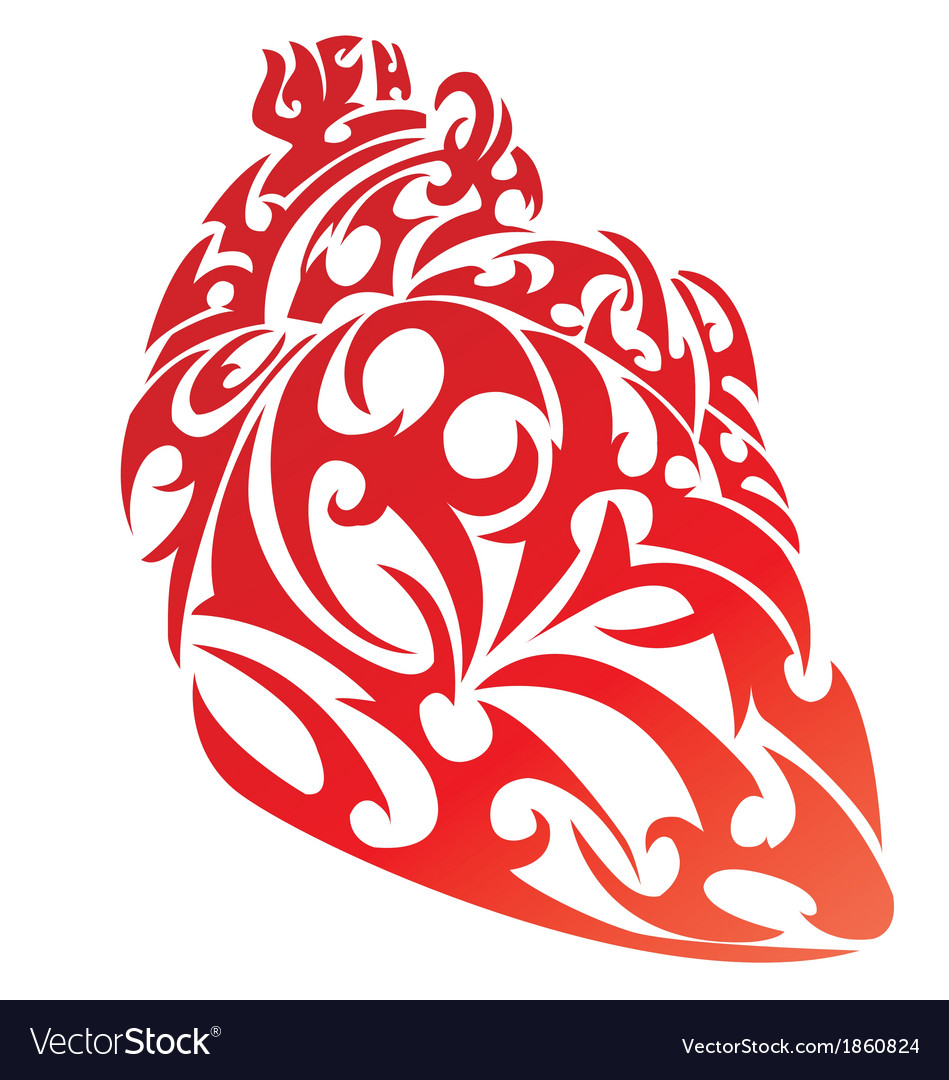 Heart shape tattoo design vector | Price: 1 Credit (USD $1)