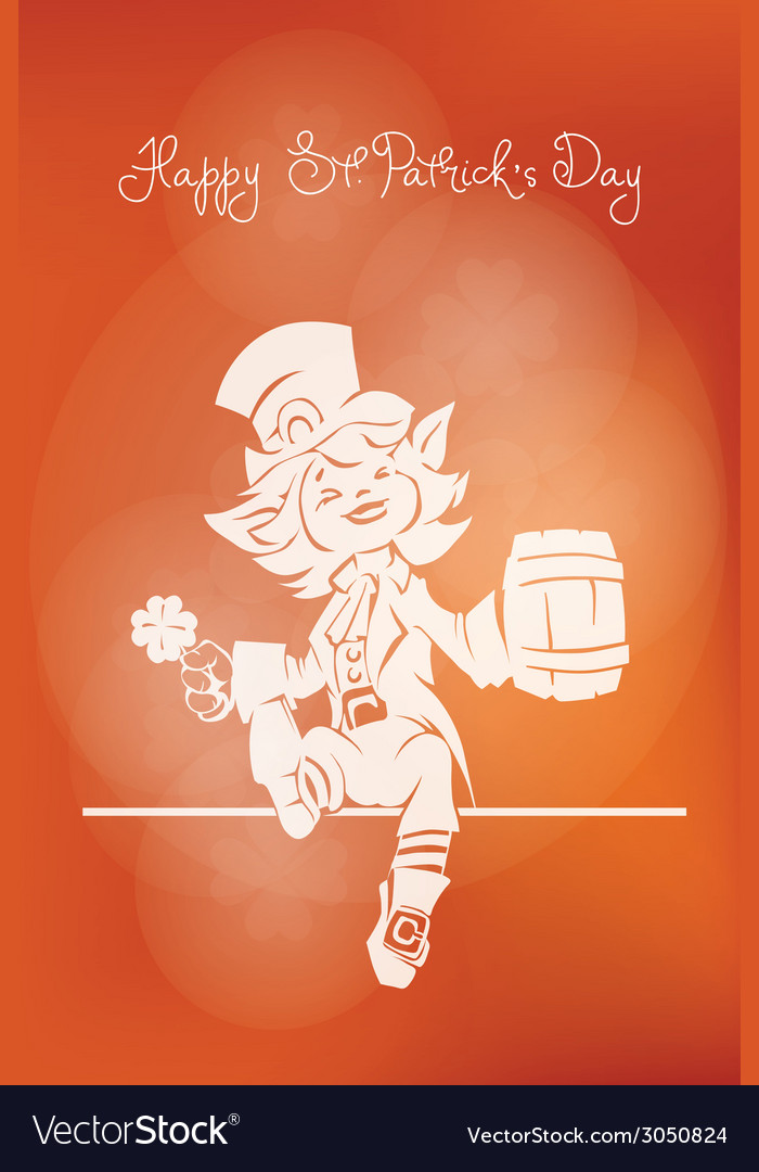 Leprechaun greeting happy st patrick day vector | Price: 1 Credit (USD $1)