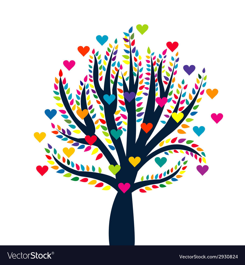Love tree isolated over white background vector | Price: 1 Credit (USD $1)