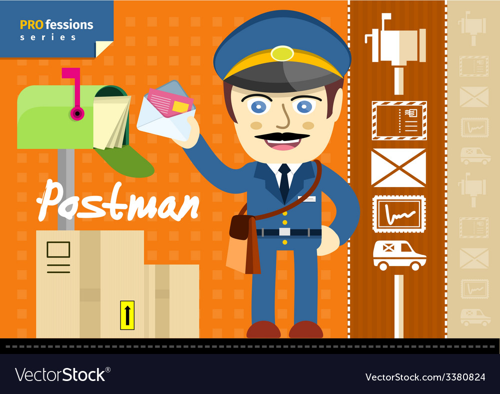 Male postman in uniform with bag holding letter vector | Price: 1 Credit (USD $1)