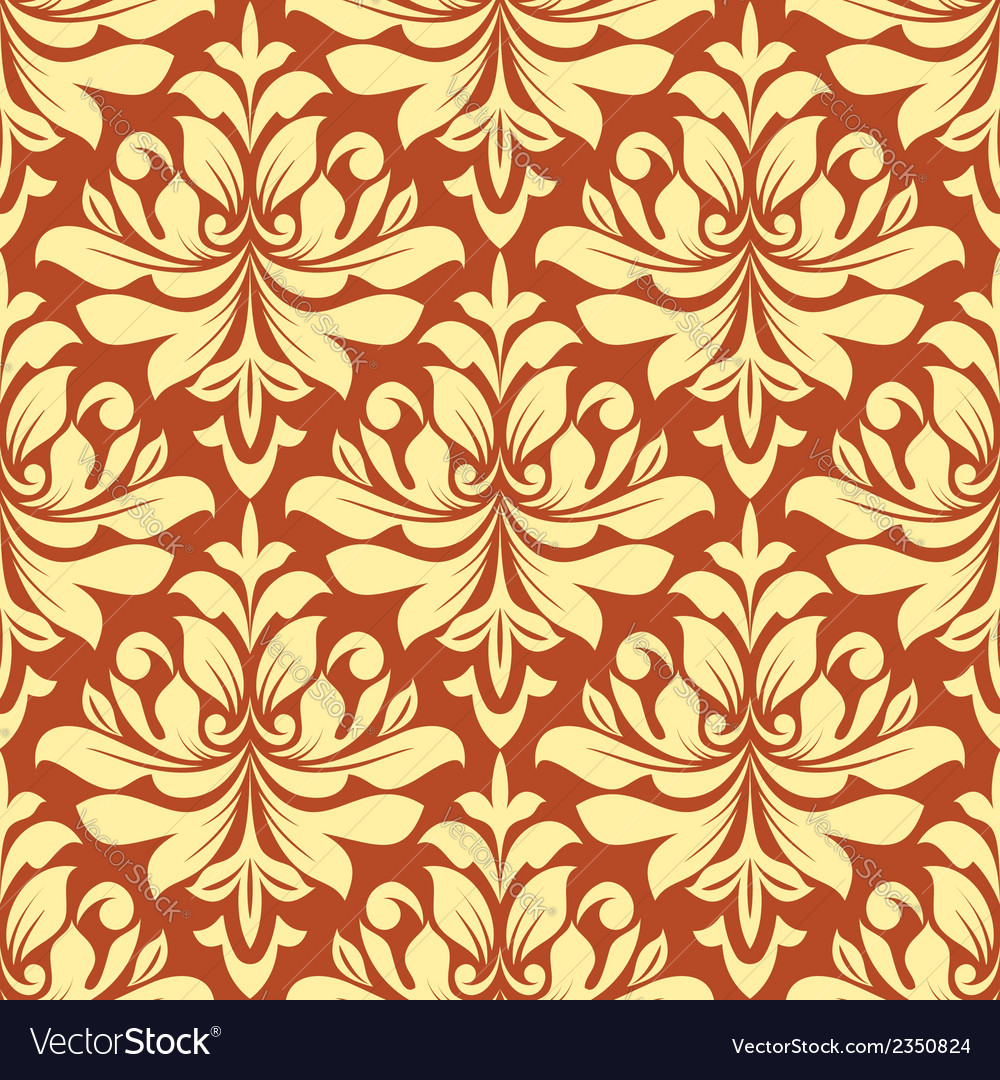 Orange and beige seamless damask pattern vector | Price: 1 Credit (USD $1)
