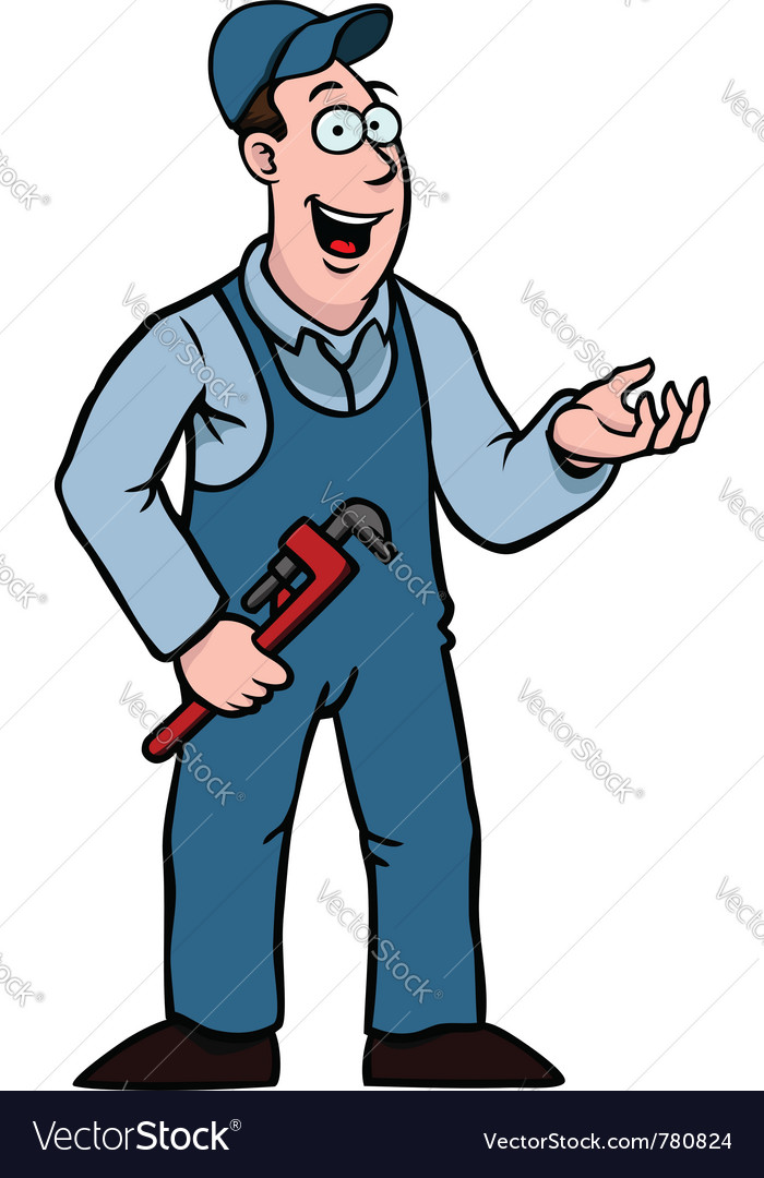 Plumber with wrench showing something vector | Price: 1 Credit (USD $1)