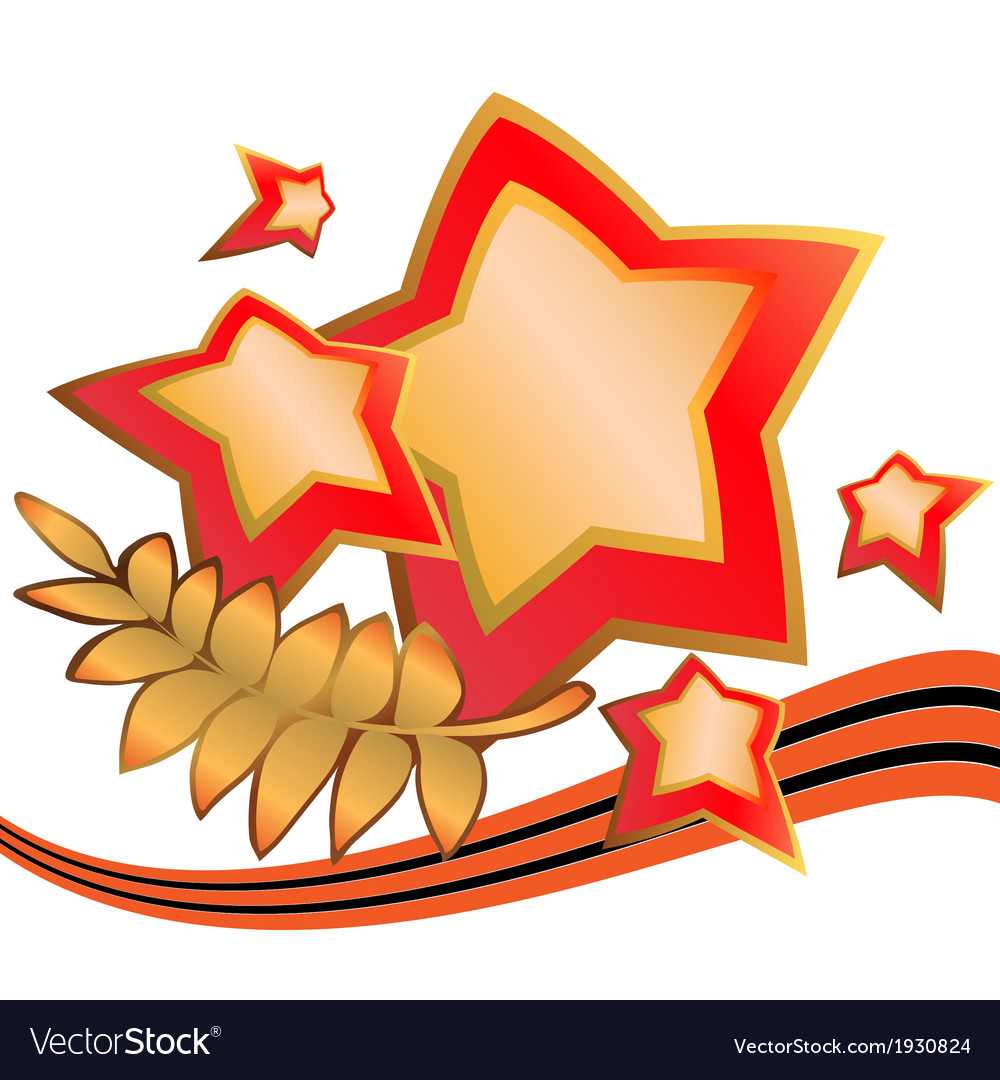 Stars with laurels and george ribbon third vector | Price: 1 Credit (USD $1)