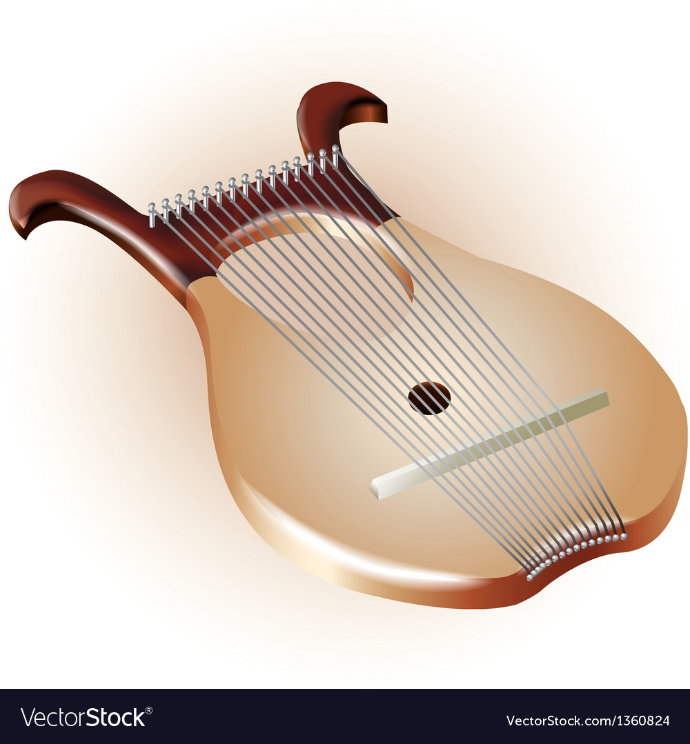 Traditional 8 strings lyre harp isolated on white vector | Price: 3 Credit (USD $3)