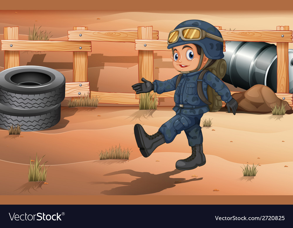 A young soldier in the desert vector | Price: 3 Credit (USD $3)