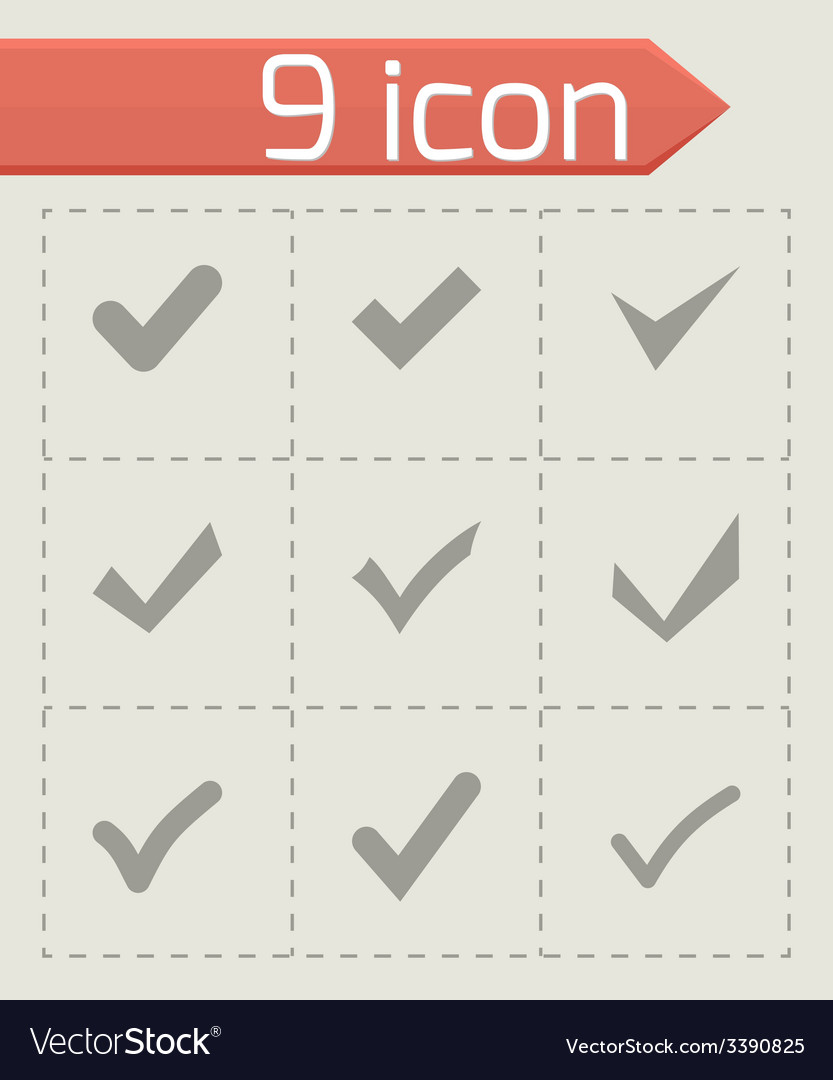 Black confirm icon set vector | Price: 1 Credit (USD $1)
