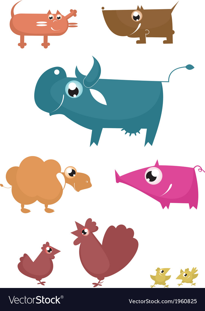 Cartoon farm animals vector | Price: 1 Credit (USD $1)