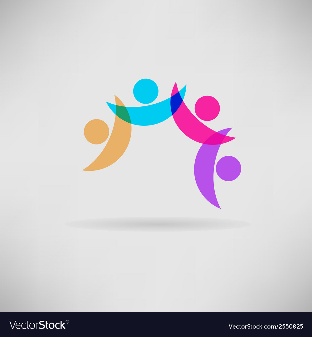 Concept of friendship - fourth friends together vector | Price: 1 Credit (USD $1)