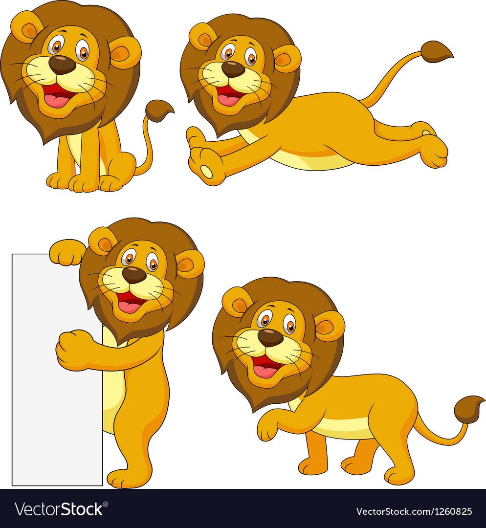 Cute lion cartoon set vector | Price: 3 Credit (USD $3)