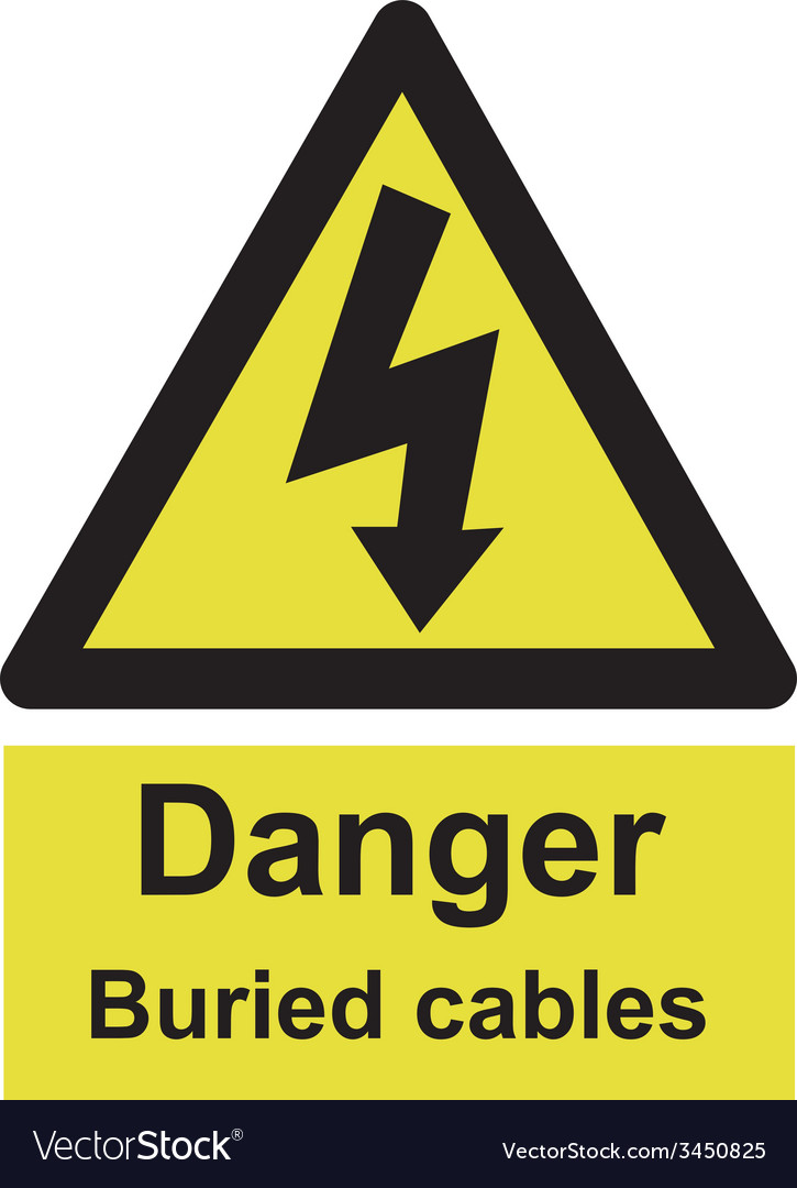 Danger buried cable safety sign vector | Price: 1 Credit (USD $1)