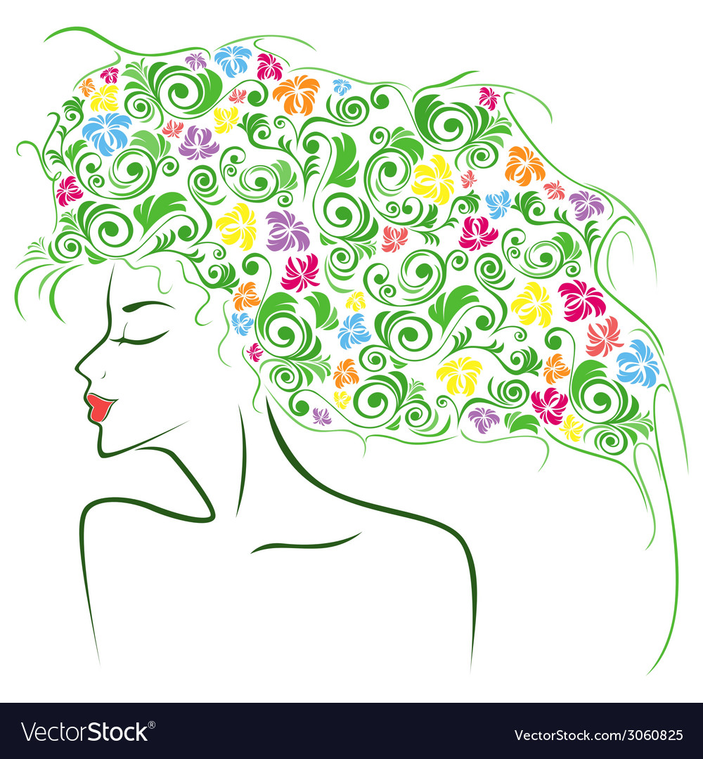 Female contour with colourful floral elements vector | Price: 1 Credit (USD $1)