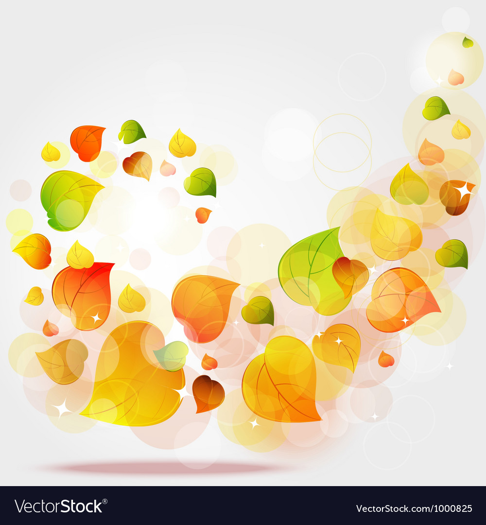 Flying autumn leaves background vector | Price: 1 Credit (USD $1)