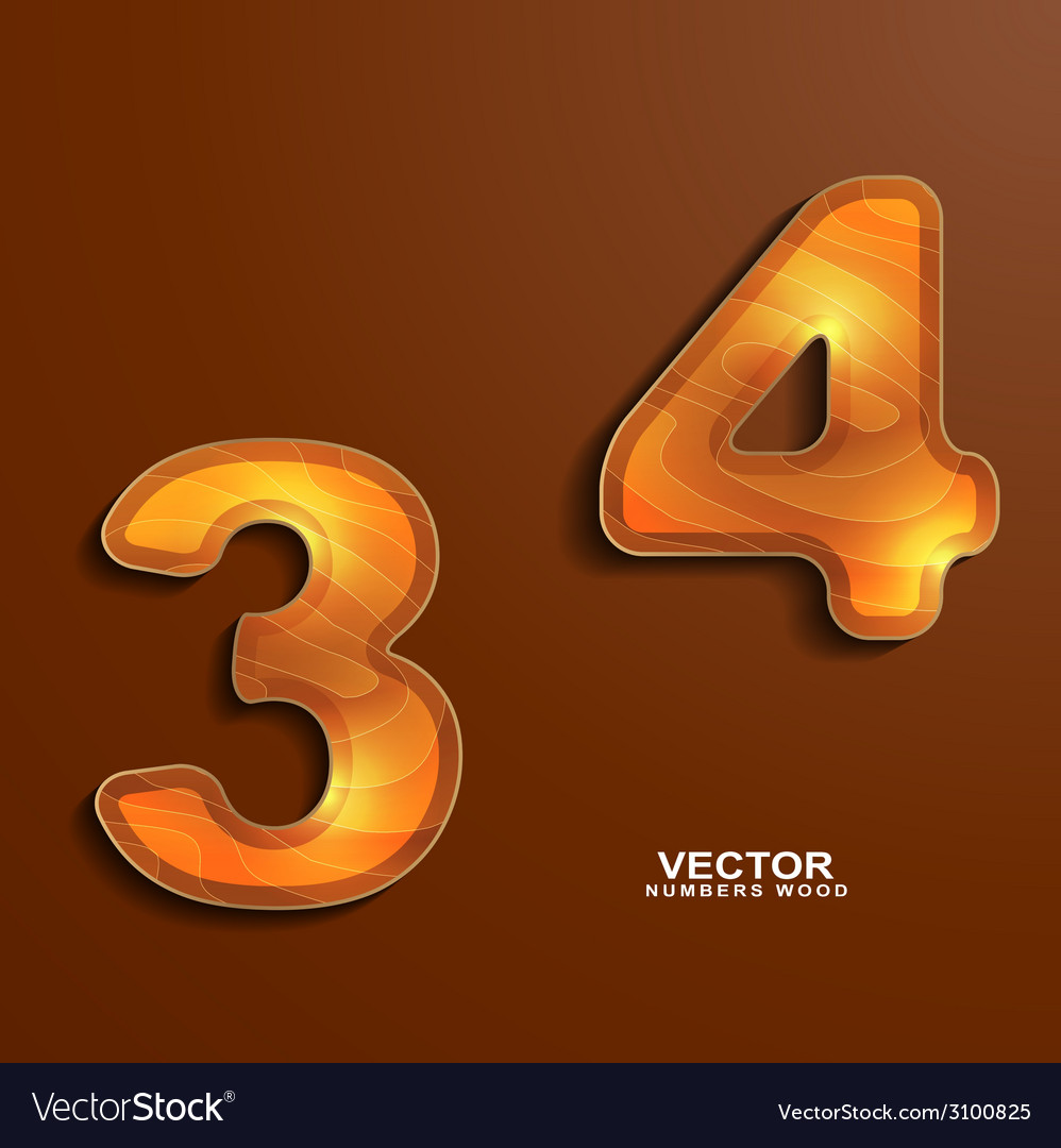 Icons wood texture numbers 3 4 vector | Price: 1 Credit (USD $1)