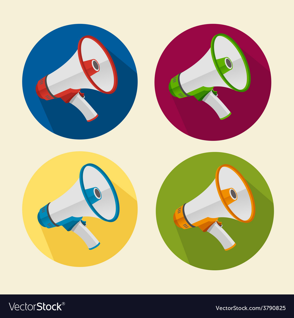 Megaphone icons set vector | Price: 1 Credit (USD $1)